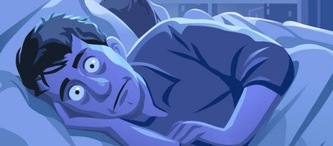 Vector illustration of a young man lying in his bed, trying to sleep. His eyes are wide open and he is looking desperate and frustrated. His wife or girlfriend is lying next to him and the bedroom is lit from the full moon and the city lights outside the window.